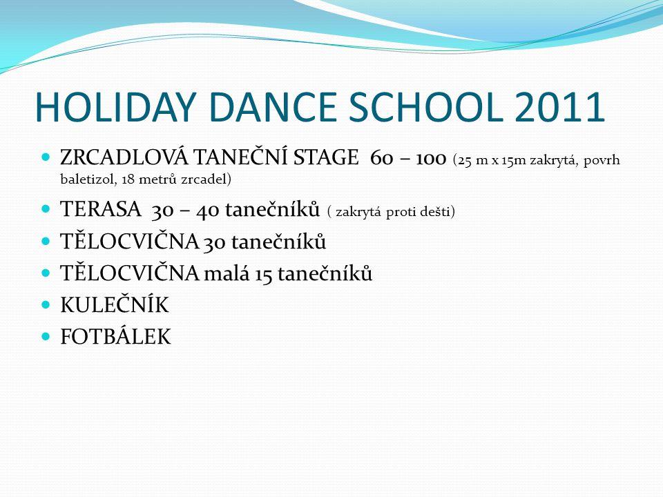 HOLIDAY DANCE SCHOOL 2011 ZRCADLOVÁ TANEČNÍ STAGE 60 – 100 (25 m x 15m zakrytá, povrh baletizol, 18 metrů zrcadel) TERASA 30 – 40 tanečníků ( zakrytá