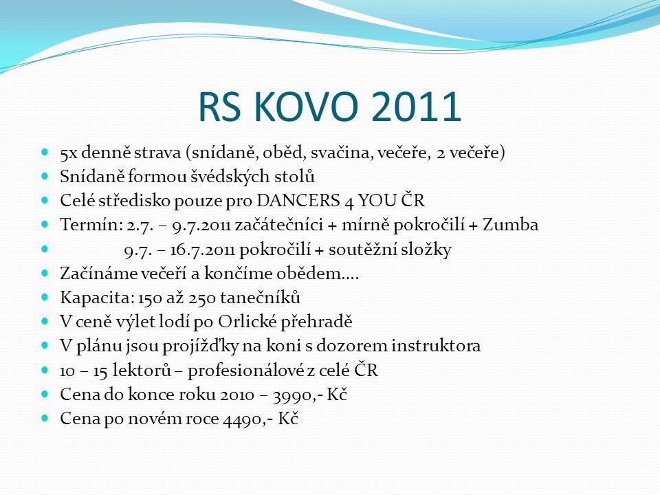 RS KOVO 2011 5x denně strava (snídaně, oběd, svačina, večeře, 2 večeře) Snídaně formou švédských stolů Celé středisko pouze pro DANCERS 4 YOU ČR Termí