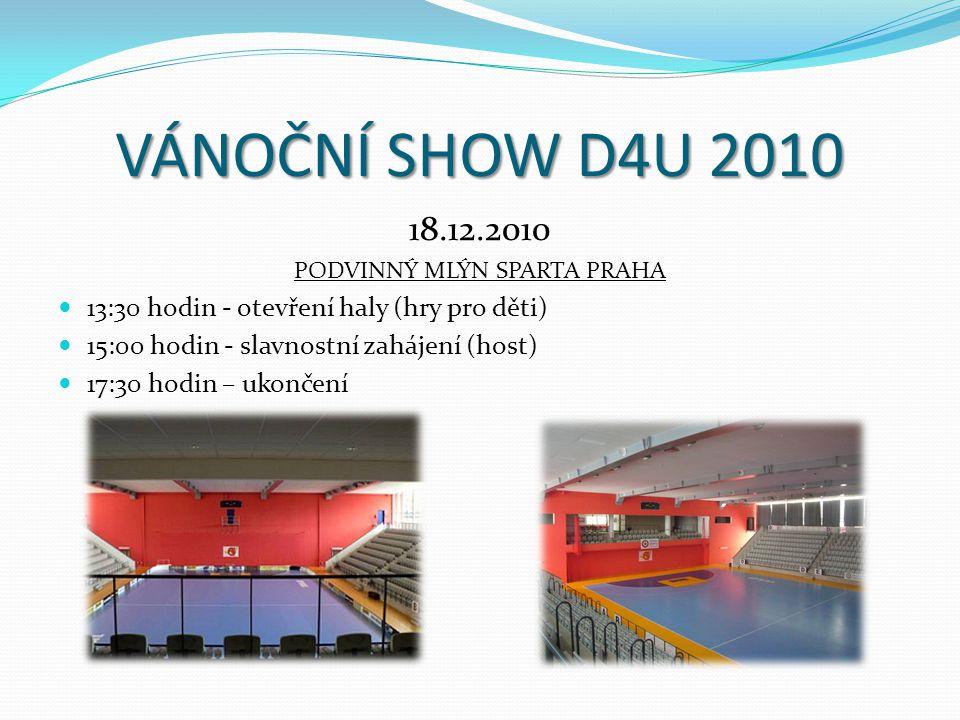 VÁNOČNÍ SHOW D4U 2010 18.12.2010 PODVINNÝ MLÝN SPARTA PRAHA 13:30 hodin - otevření haly (hry pro děti) 15:00 hodin - slavnostní zahájení (host) 17:30