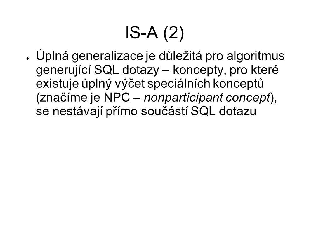 IS-A (2) ● Úplná generalizace je důležitá pro algoritmus generující SQL dotazy – koncepty, pro které existuje úplný výčet speciálních konceptů (značím