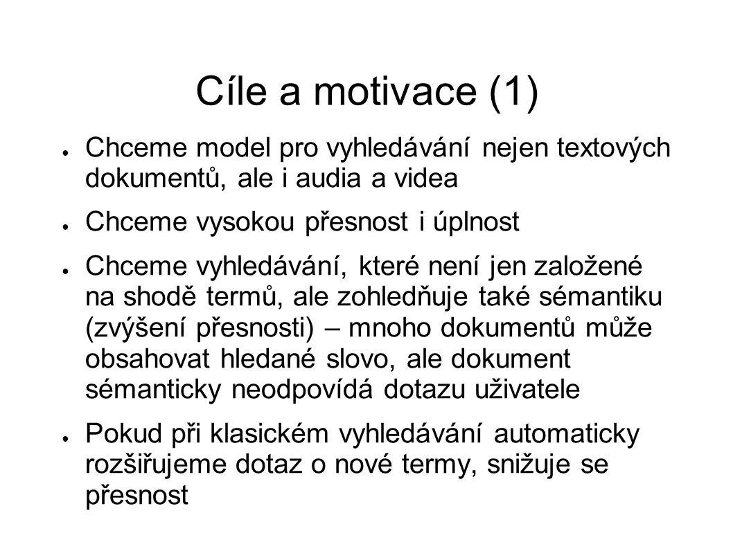 Cíle a motivace (1) ● Chceme model pro vyhledávání nejen textových dokumentů, ale i audia a videa ● Chceme vysokou přesnost i úplnost ● Chceme vyhledá