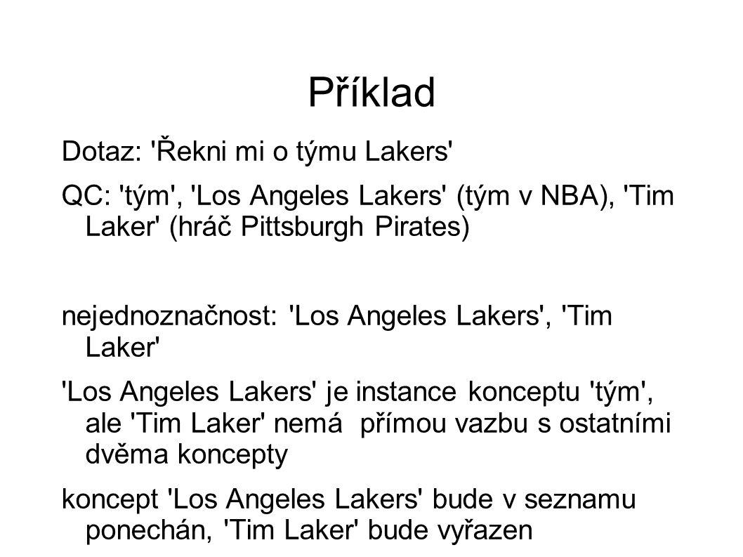 Příklad Dotaz: 'Řekni mi o týmu Lakers' QC: 'tým', 'Los Angeles Lakers' (tým v NBA), 'Tim Laker' (hráč Pittsburgh Pirates) nejednoznačnost: 'Los Angel
