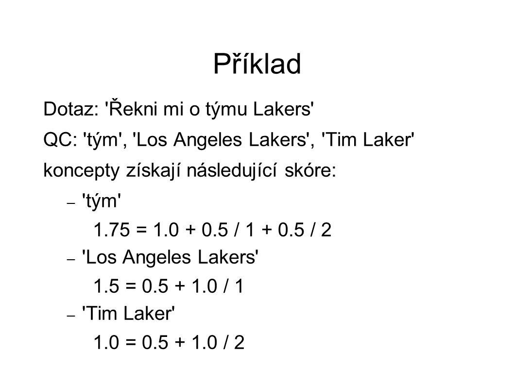 Příklad Dotaz: Řekni mi o týmu Lakers QC: tým , Los Angeles Lakers , Tim Laker koncepty získají následující skóre: – tým 1.75 = 1.0 + 0.5 / 1 + 0.5 / 2 – Los Angeles Lakers 1.5 = 0.5 + 1.0 / 1 – Tim Laker 1.0 = 0.5 + 1.0 / 2