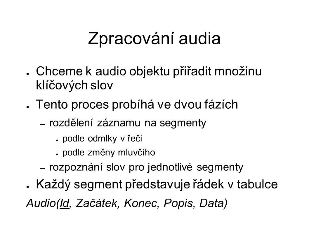 Zpracování audia ● Chceme k audio objektu přiřadit množinu klíčových slov ● Tento proces probíhá ve dvou fázích – rozdělení záznamu na segmenty ● podl