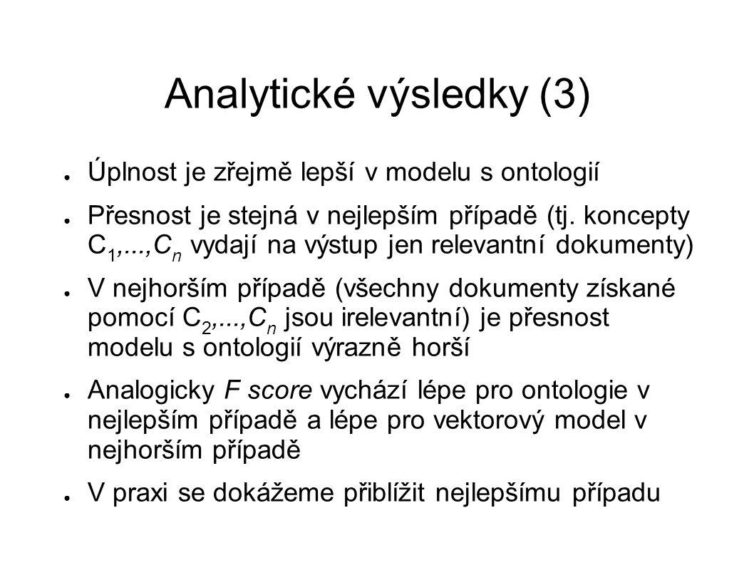 Analytické výsledky (3) ● Úplnost je zřejmě lepší v modelu s ontologií ● Přesnost je stejná v nejlepším případě (tj. koncepty C 1,...,C n vydají na vý