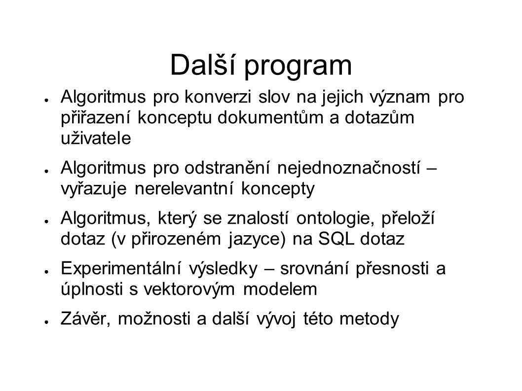 Další program ● Algoritmus pro konverzi slov na jejich význam pro přiřazení konceptu dokumentům a dotazům uživatele ● Algoritmus pro odstranění nejedn