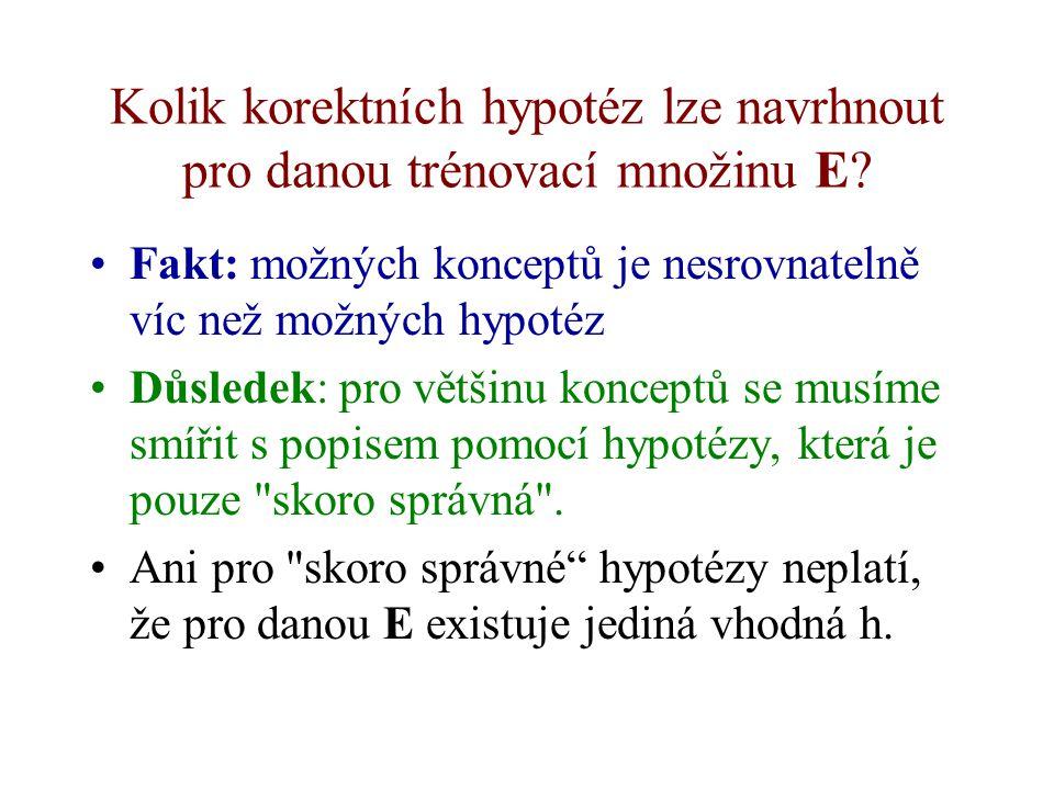 Hypotéza - pokus o formální popis konceptu Pro popis příkladů i hypotéz potřebujeme jazyk. Hypotéza je pak vyjádření v odpovídajícím jazyce pomocí for