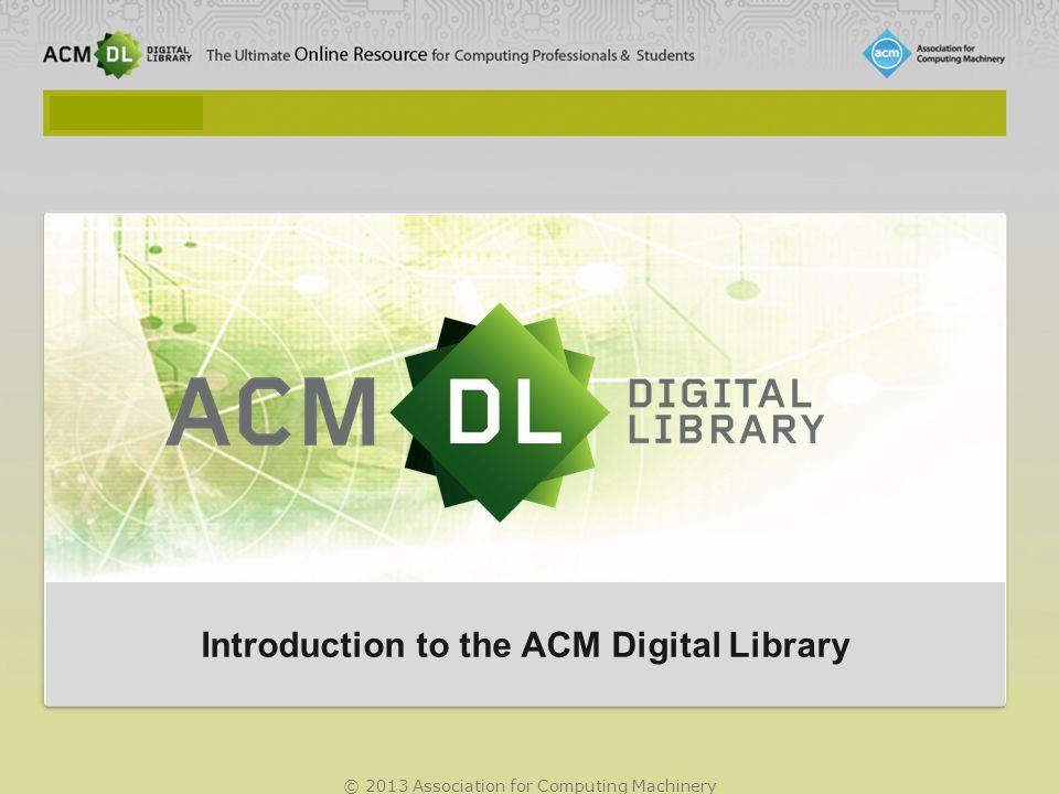 © 2013 Association for Computing Machinery Co probereme v prezentaci...