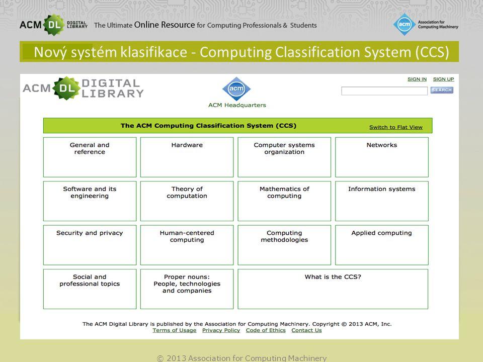 © 2013 Association for Computing Machinery Co je ACM CCS?