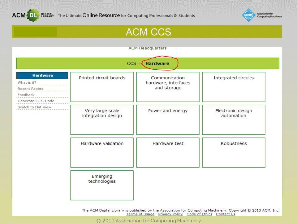 © 2013 Association for Computing Machinery ACM CCS