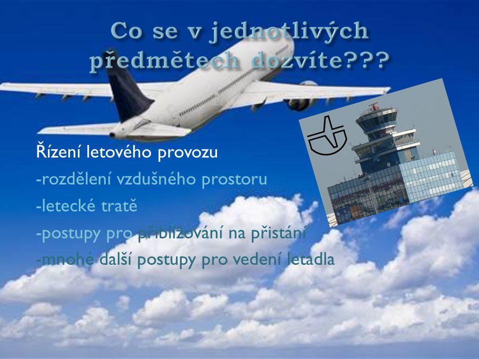 Řízení letového provozu -rozdělení vzdušného prostoru -letecké tratě -postupy pro přibližování na přistání -mnohé další postupy pro vedení letadla