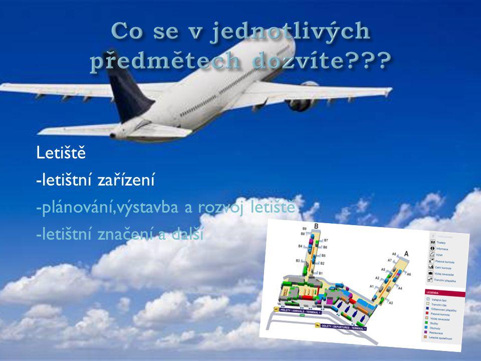 Letecká doprava a přeprava -letecké organizace -zákony a předpisy -vyplňování letenky a dalších dokladů -přeprava zavazadel, atd.