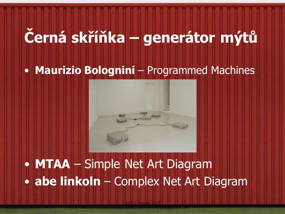 AVU 3. března 2008 Černá skříňka – generátor mýtů Maurizio Bolognini – Programmed Machines MTAA – Simple Net Art Diagram.. abe linkoln – Complex Net A