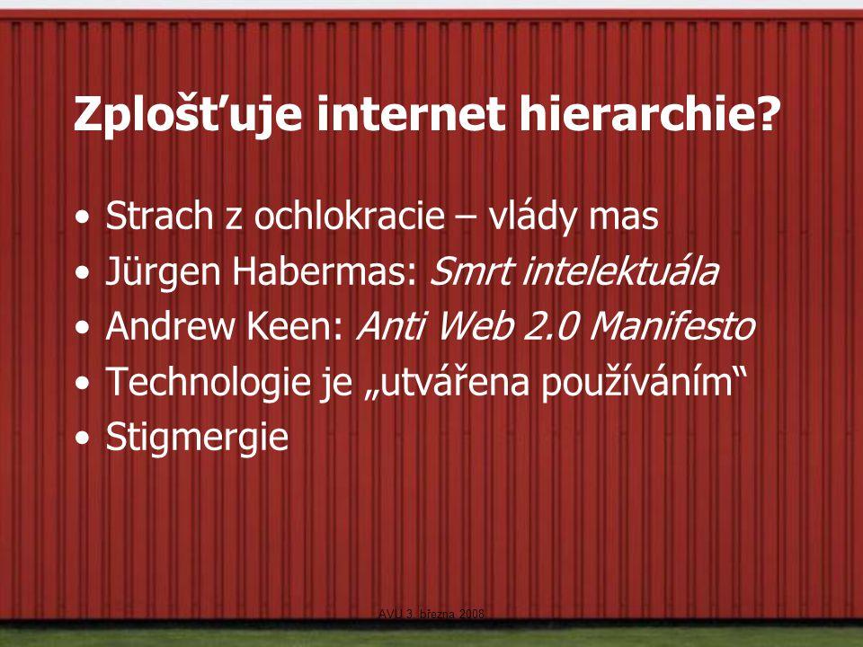 Zplošťuje internet hierarchie? Strach z ochlokracie – vlády mas Jürgen Habermas: Smrt intelektuála Andrew Keen: Anti Web 2.0 Manifesto Technologie je