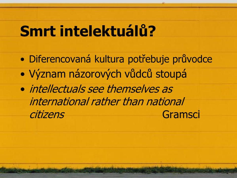 Smrt intelektuálů? Diferencovaná kultura potřebuje průvodce Význam názorových vůdců stoupá intellectuals see themselves as international rather than n