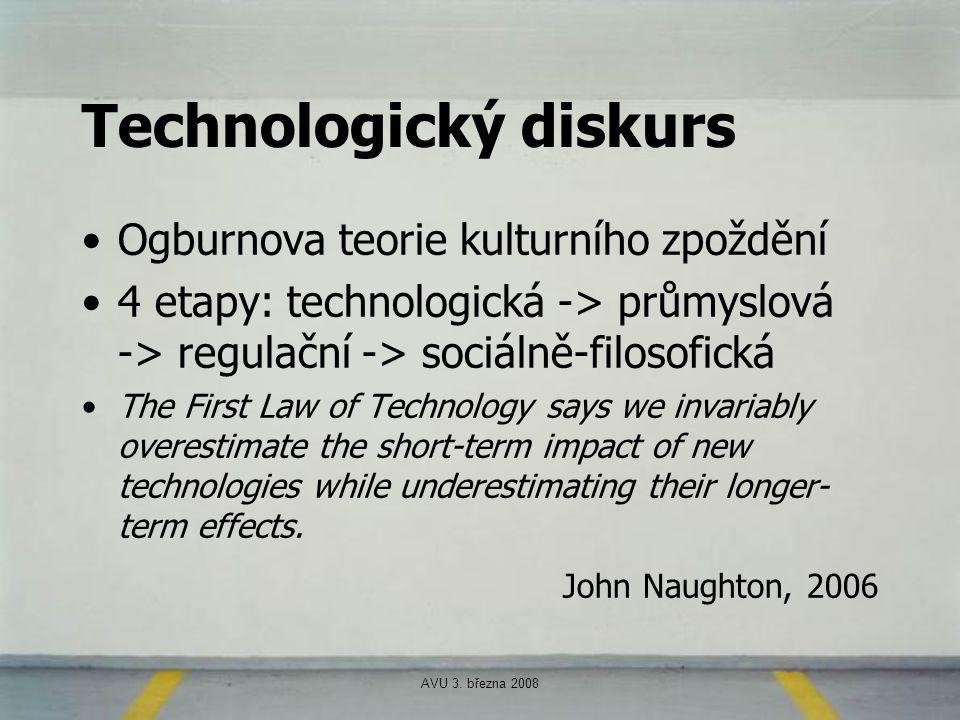 AVU 3. března 2008 Technologický diskurs Ogburnova teorie kulturního zpoždění 4 etapy: technologická -> průmyslová -> regulační -> sociálně-filosofick