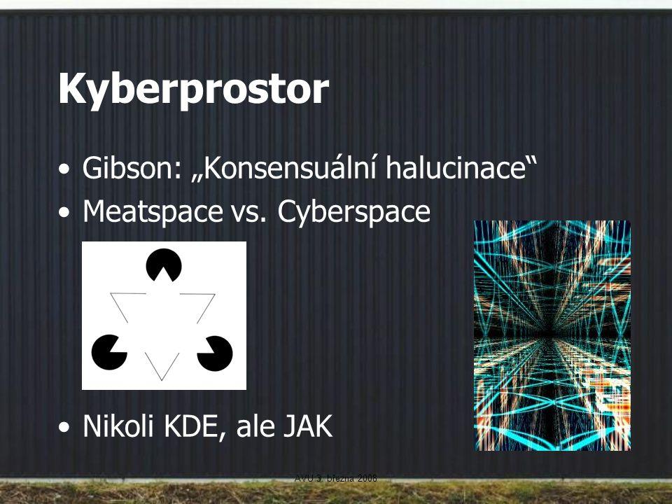 """AVU 3. března 2008 Kyberprostor Gibson: """"Konsensuální halucinace"""" Meatspace vs. Cyberspace Nikoli KDE, ale JAK"""