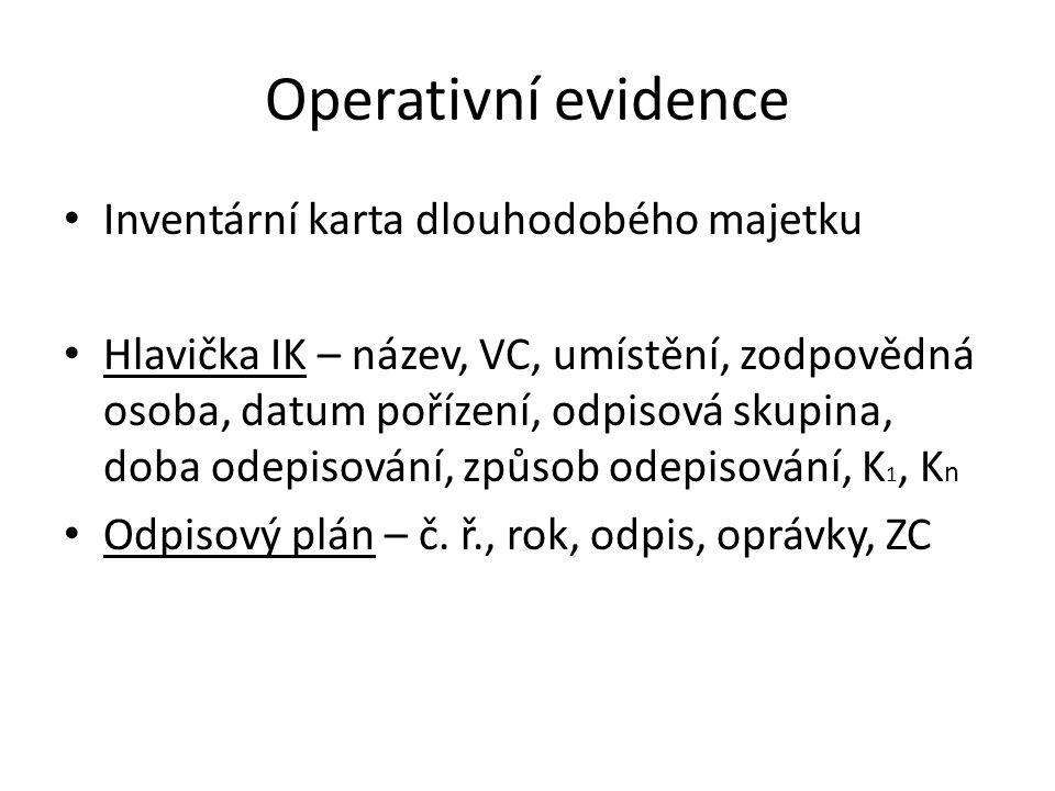 Operativní evidence Inventární karta dlouhodobého majetku Hlavička IK – název, VC, umístění, zodpovědná osoba, datum pořízení, odpisová skupina, doba