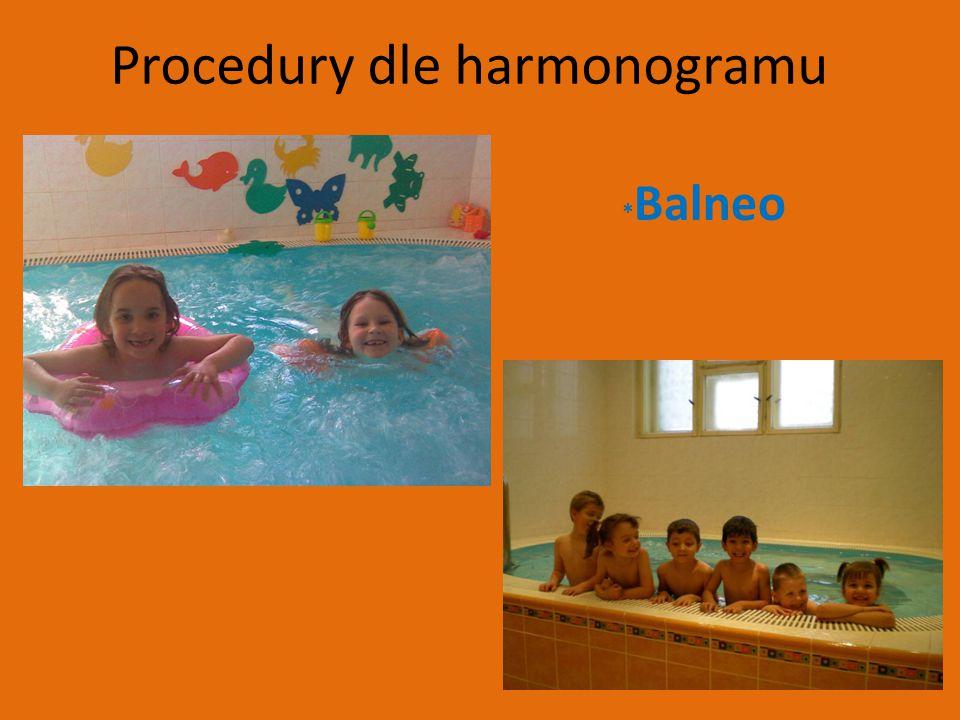 Procedury dle harmonogramu * Balneo