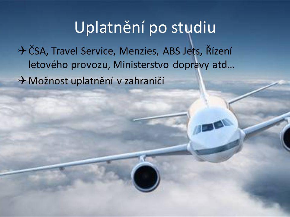 Uplatnění po studiu  ČSA, Travel Service, Menzies, ABS Jets, Řízení letového provozu, Ministerstvo dopravy atd…  Možnost uplatnění v zahraničí