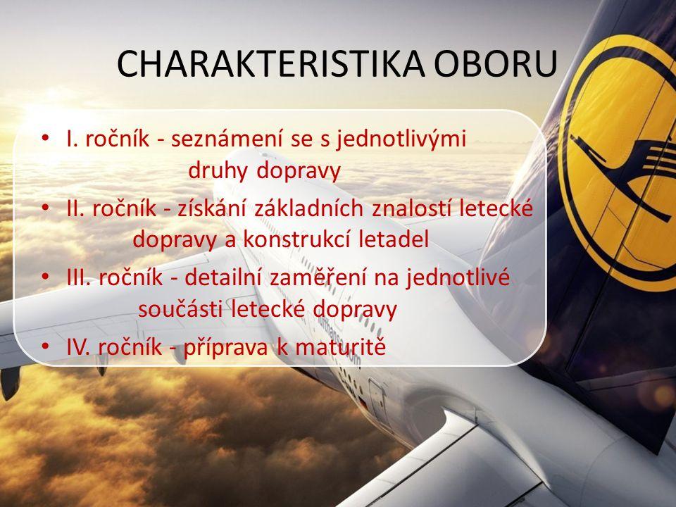 CHARAKTERISTIKA OBORU I. ročník - seznámení se s jednotlivými druhy dopravy II. ročník - získání základních znalostí letecké dopravy a konstrukcí leta