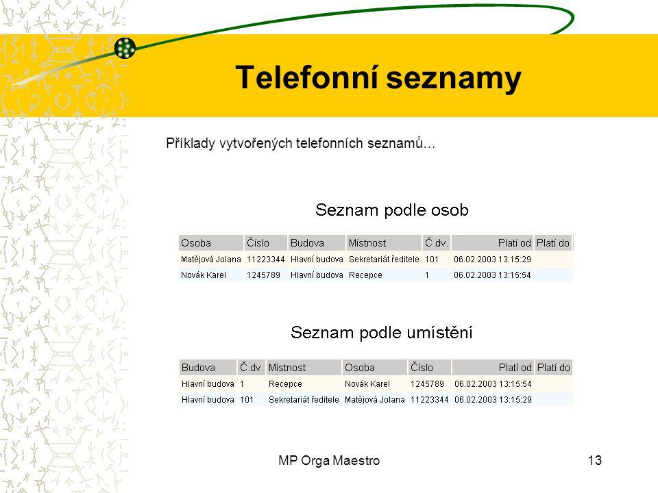 MP Orga Maestro13 Telefonní seznamy Příklady vytvořených telefonních seznamů…