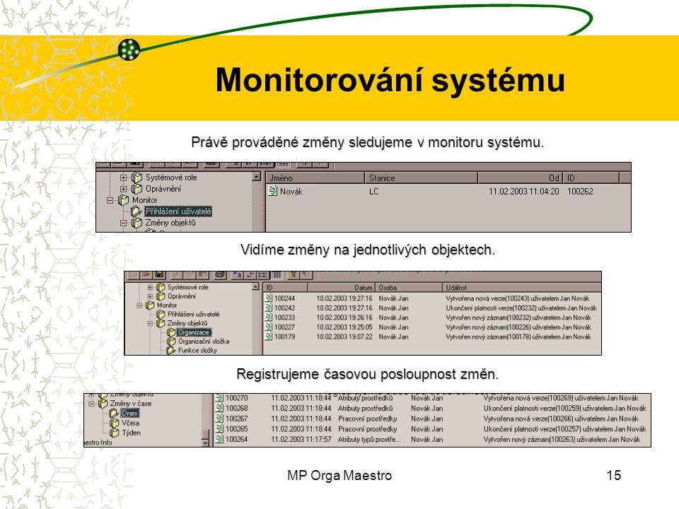 MP Orga Maestro15 Monitorování systému Právě prováděné změny sledujeme v monitoru systému. Vidíme změny na jednotlivých objektech. Registrujeme časovo