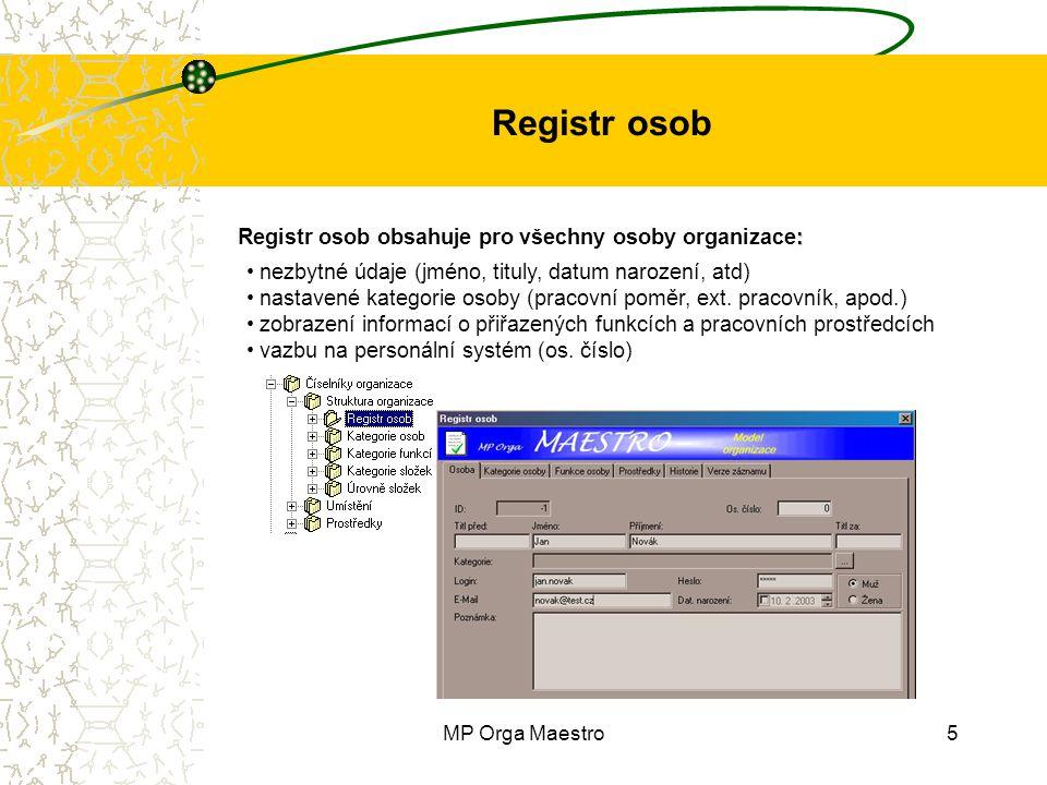 MP Orga Maestro5 Registr osob nezbytné údaje (jméno, tituly, datum narození, atd) nastavené kategorie osoby (pracovní poměr, ext. pracovník, apod.) zo