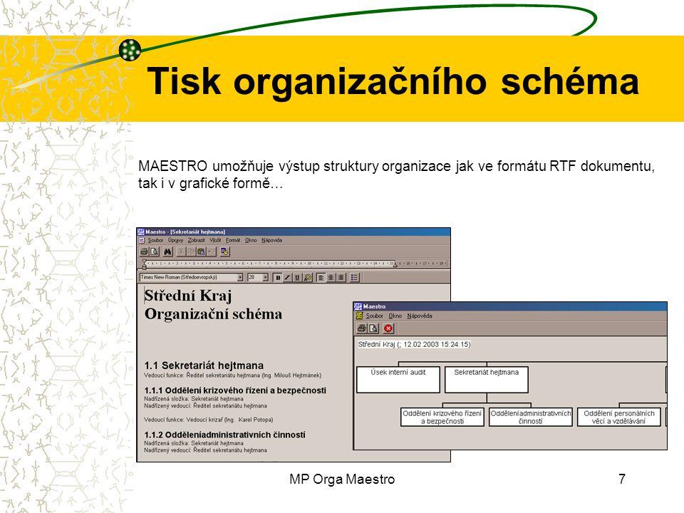 MP Orga Maestro7 Tisk organizačního schéma MAESTRO umožňuje výstup struktury organizace jak ve formátu RTF dokumentu, tak i v grafické formě…