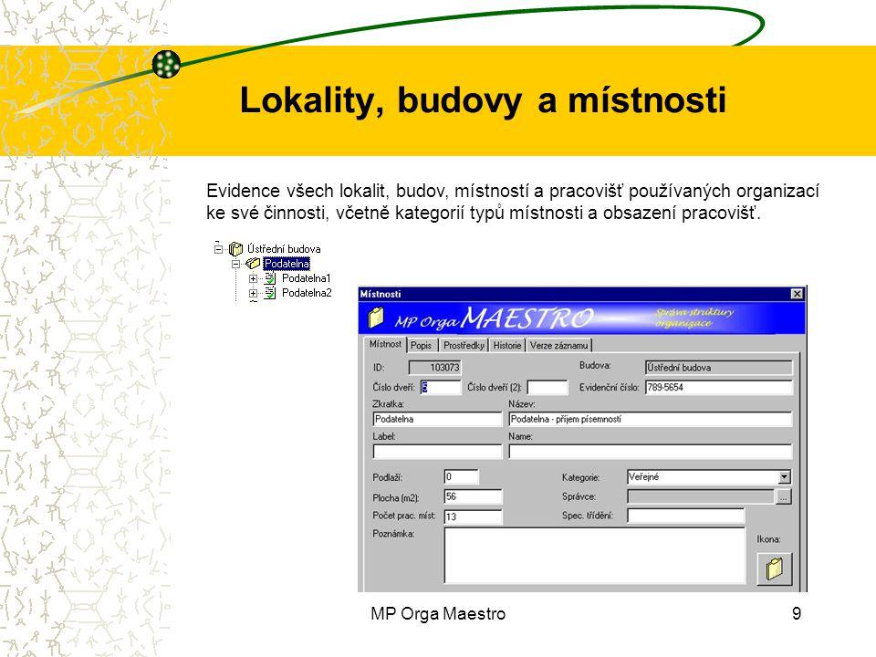 MP Orga Maestro9 Lokality, budovy a místnosti Evidence všech lokalit, budov, místností a pracovišť používaných organizací ke své činnosti, včetně kategorií typů místnosti a obsazení pracovišť.