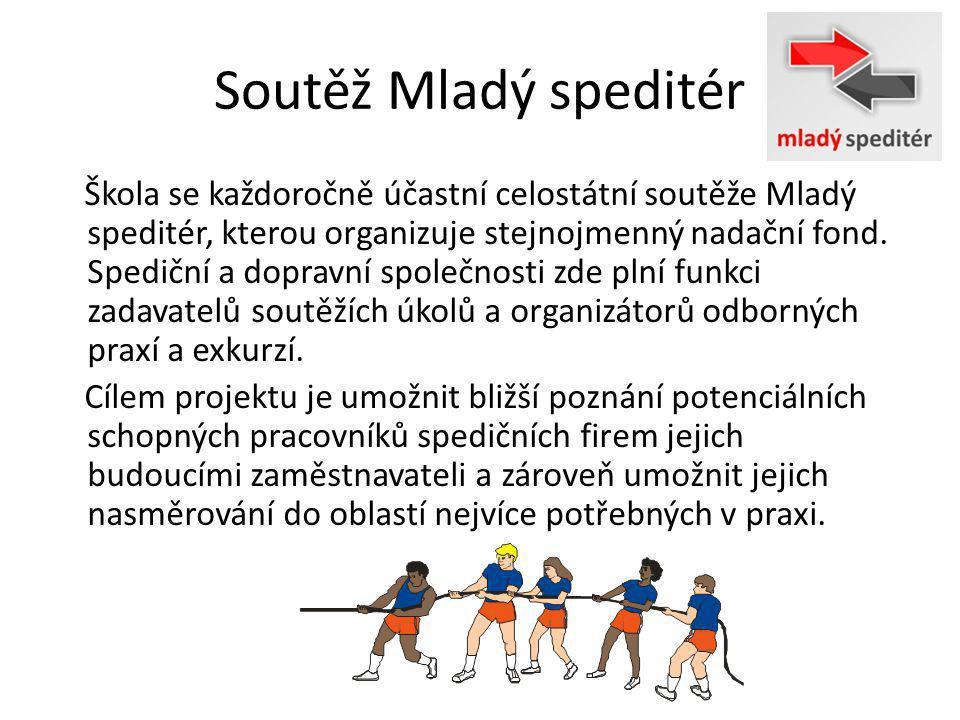 Soutěž Mladý speditér Škola se každoročně účastní celostátní soutěže Mladý speditér, kterou organizuje stejnojmenný nadační fond.
