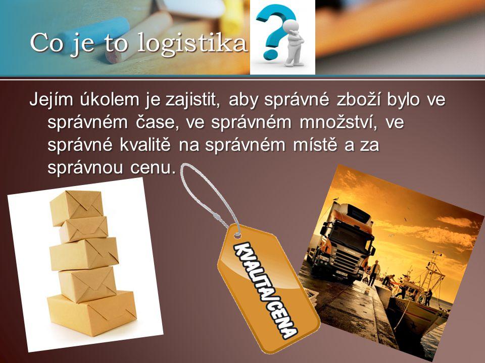 Co je to logistika Jejím úkolem je zajistit, aby správné zboží bylo ve správném čase, ve správném množství, ve správné kvalitě na správném místě a za