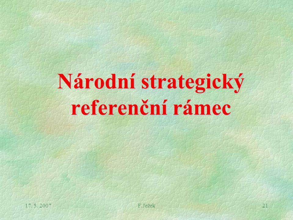 17. 5. 2007F.Ježek21 Národní strategický referenční rámec
