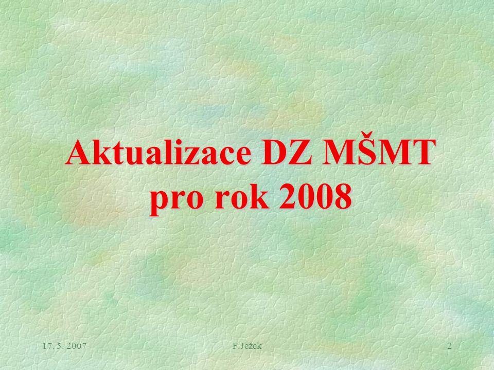 17. 5. 2007F.Ježek2 Aktualizace DZ MŠMT pro rok 2008