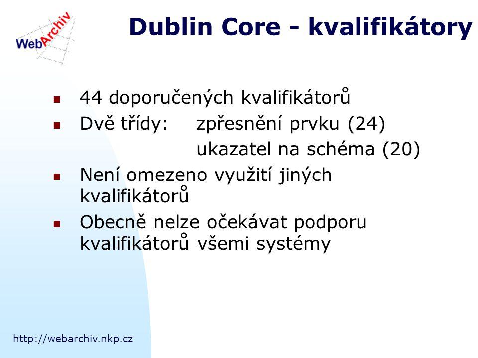 http://webarchiv.nkp.cz Dublin Core - kvalifikátory 44 doporučených kvalifikátorů Dvě třídy:zpřesnění prvku (24) ukazatel na schéma (20) Není omezeno