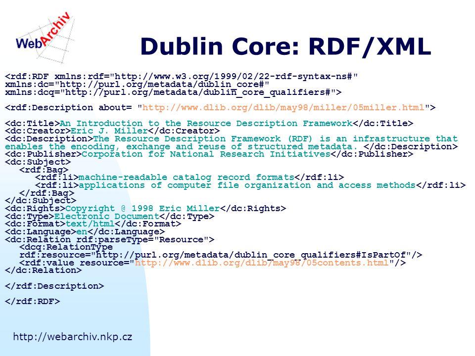 http://webarchiv.nkp.cz Dublin Core: Nástroje Nejen prohlížení metadat ve zdroji:  Metabrowser (metabrowser.spirit.net.au) Tvorba metadat:  DC Metadata creator (webarchiv.nkp.cz) Tvorba portálů  ROADS Prohledávače Internetu  Combine