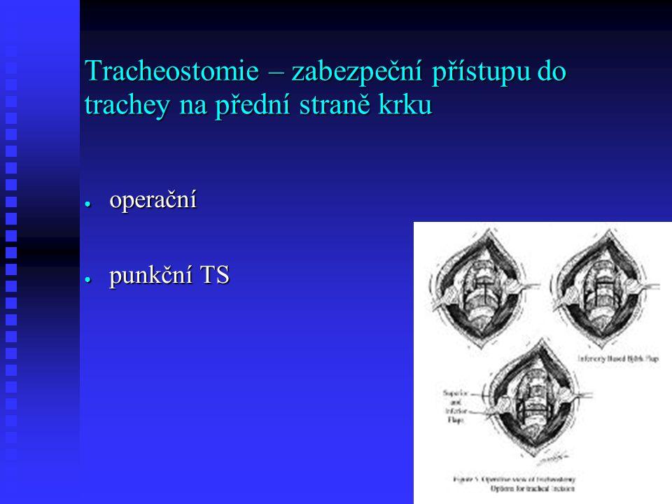 Tracheostomie – zabezpeční přístupu do trachey na přední straně krku ● operační ● punkční TS
