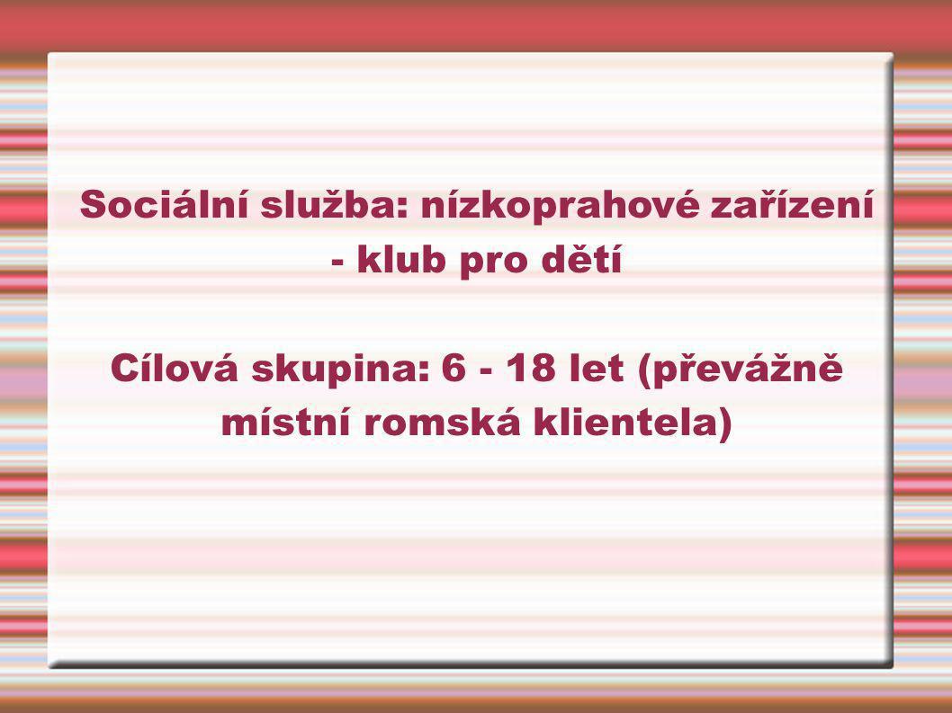 Sociální služba: nízkoprahové zařízení - klub pro dětí Cílová skupina: 6 - 18 let (převážně místní romská klientela)