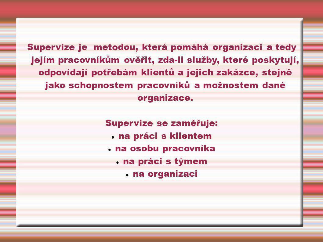 Supervize je metodou, která pomáhá organizaci a tedy jejím pracovníkům ověřit, zda-li služby, které poskytují, odpovídají potřebám klientů a jejich za