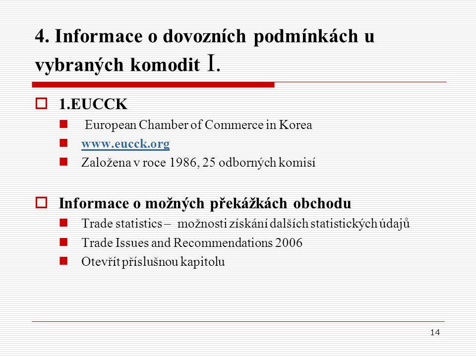 14 4. Informace o dovozních podmínkách u vybraných komodit I.