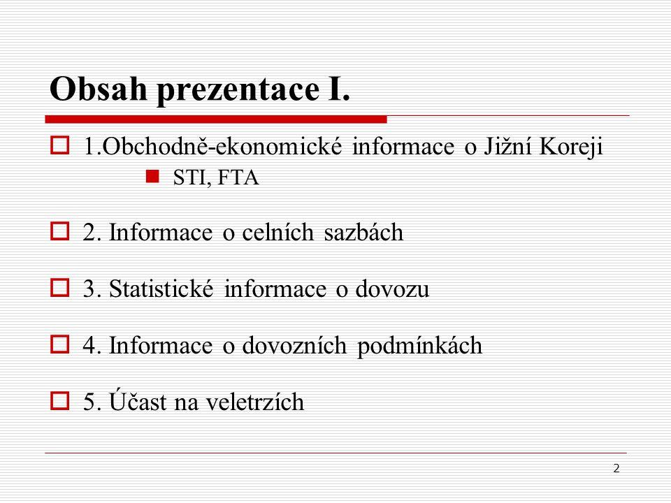 2 Obsah prezentace I.  1.Obchodně-ekonomické informace o Jižní Koreji STI, FTA  2.