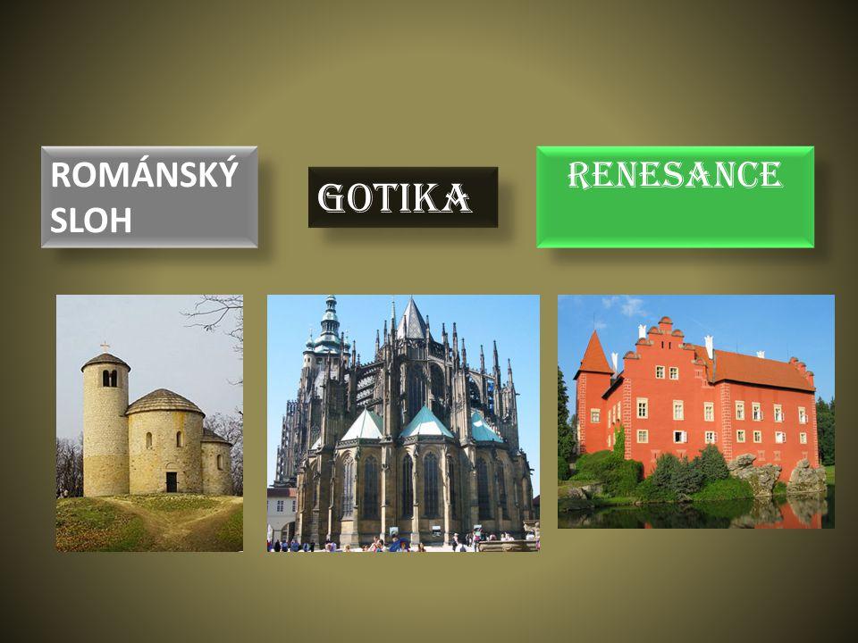 Budují se hrady, tvrze, mosty a opevnění (na obranu) Stavby jsou vysoké (míří k Bohu)- katedrály, kláštery Stavby jsou prosvětlené- mají velká okna