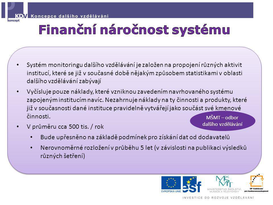 Systém monitoringu dalšího vzdělávání je založen na propojení různých aktivit institucí, které se již v současné době nějakým způsobem statistikami v oblasti dalšího vzdělávání zabývají Vyčísluje pouze náklady, které vzniknou zavedením navrhovaného systému zapojeným institucím navíc.