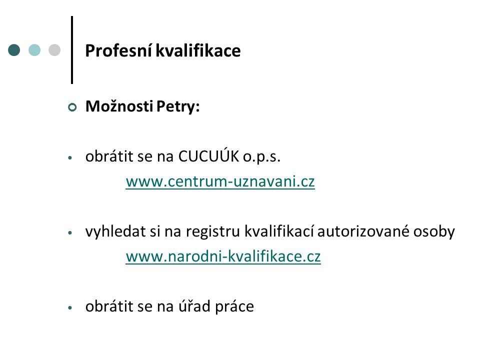Profesní kvalifikace Možnosti Petry: obrátit se na CUCUÚK o.p.s.