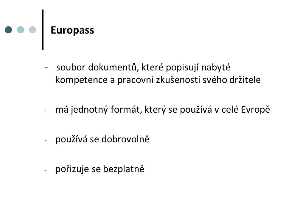 Europass - soubor dokumentů, které popisují nabyté kompetence a pracovní zkušenosti svého držitele - má jednotný formát, který se používá v celé Evropě - používá se dobrovolně - pořizuje se bezplatně