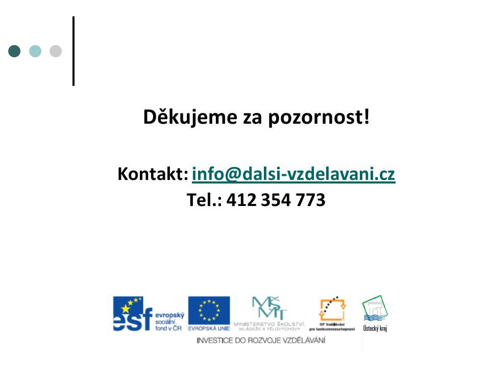 Děkujeme za pozornost! Kontakt: info@dalsi-vzdelavani.czinfo@dalsi-vzdelavani.cz Tel.: 412 354 773