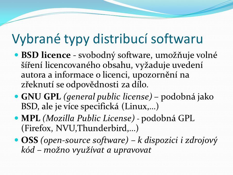 Vybrané typy distribucí softwaru BSD licence - svobodný software, umožňuje volné šíření licencovaného obsahu, vyžaduje uvedení autora a informace o licenci, upozornění na zřeknutí se odpovědnosti za dílo.