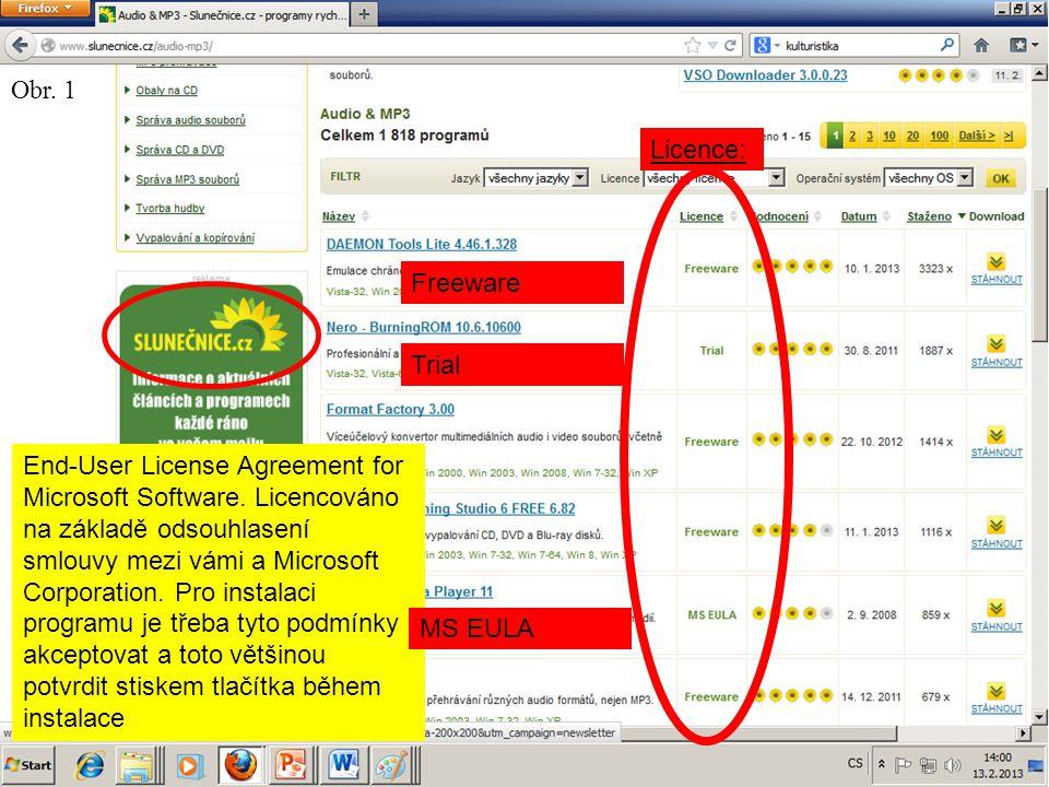 Komerční distribuce Placená Vázaná na uživatele Omezený počet počítačů Omezená doba užívání / aktualizací (antiviry) Někdy vázaná na Hardware Licenční klíč (+samolepka), Hardwarový klíč, Originální CD, …