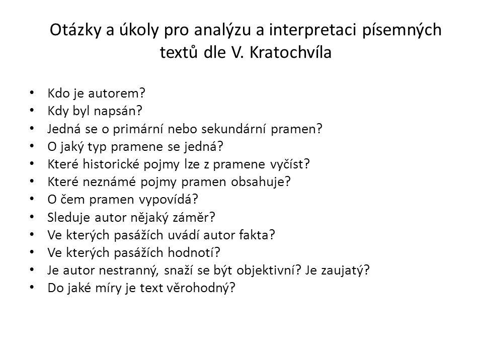 Otázky a úkoly pro analýzu a interpretaci písemných textů dle V.