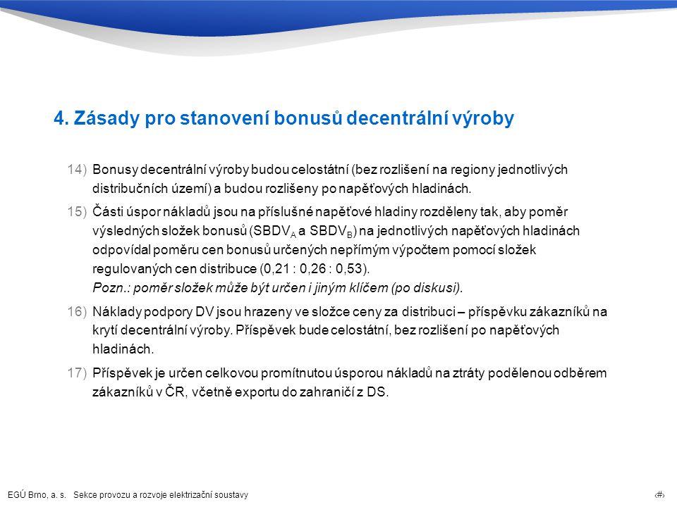 EGÚ Brno, a. s. Sekce provozu a rozvoje elektrizační soustavy 19 4. Zásady pro stanovení bonusů decentrální výroby 14)Bonusy decentrální výroby budou